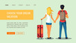 Web page design template for discovery, tourism, travel and vacation. Man with backpack and woman with suitcase. Vector illustration for banner, poster, website.