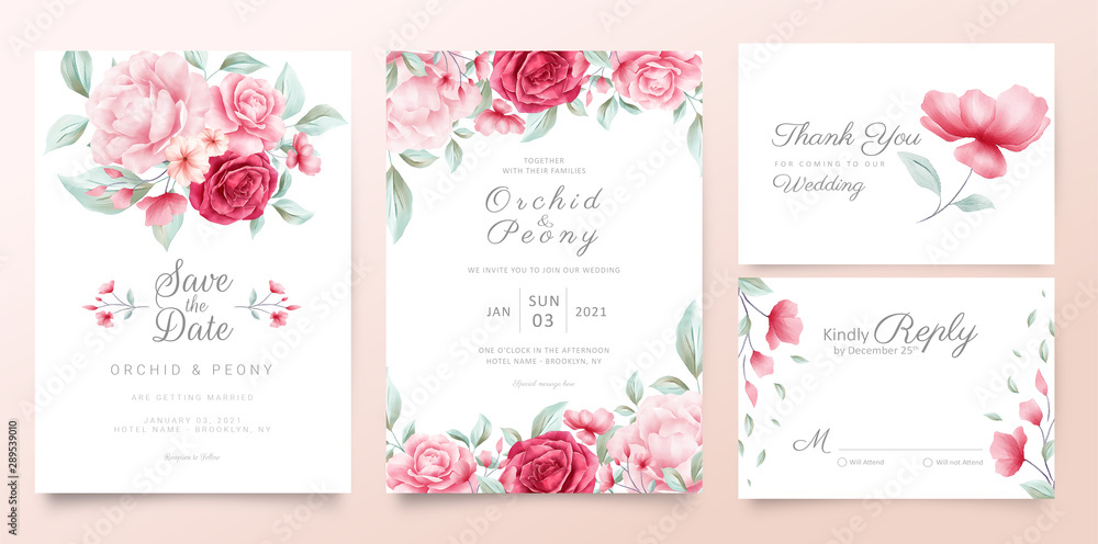 Fototapety, obrazy: Botanic wedding invitation cards template with watercolor flowers and wild leaves