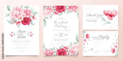 Fotomural  Botanic wedding invitation cards template with watercolor flowers and wild leave