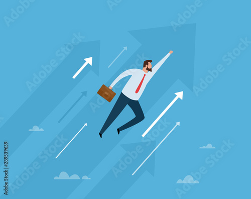 Fototapeta Businessman flight to the future. Business concept vector illustration. obraz