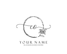 Initial CO Beauty Monogram And Elegant Logo Design, Handwriting Logo Of Initial Signature, Wedding, Fashion, Floral And Botanical With Creative Template