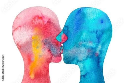 Fotografie, Tablou  dipinto acquerello due persone si baciano sfondo bianco