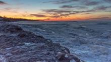 Dramatic Sunset Over Frozen La...