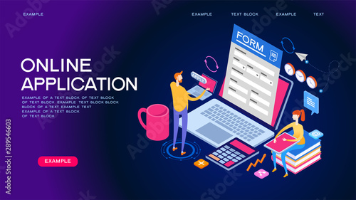 Fotomural  Online application isometric concept banner
