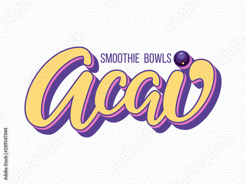 Photo Acai bowl hand drawn vector logo