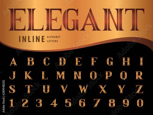 Obraz na plátně  Vector of Elegant Alphabet Letters and numbers, Serif Inline fonts, Vintage and