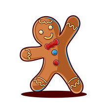 Gingerbread Man Isolated On White Background