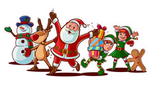 Santa Claus And Friends Illustration For Christmas