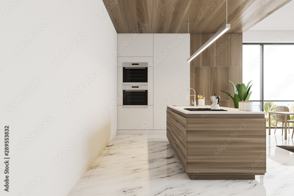 Fototapeta Side view of white and wooden kitchen with island