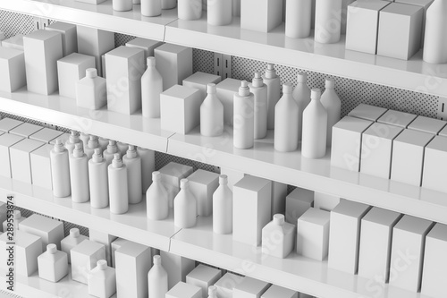 Obraz Side view of supermarket shelves with products - fototapety do salonu