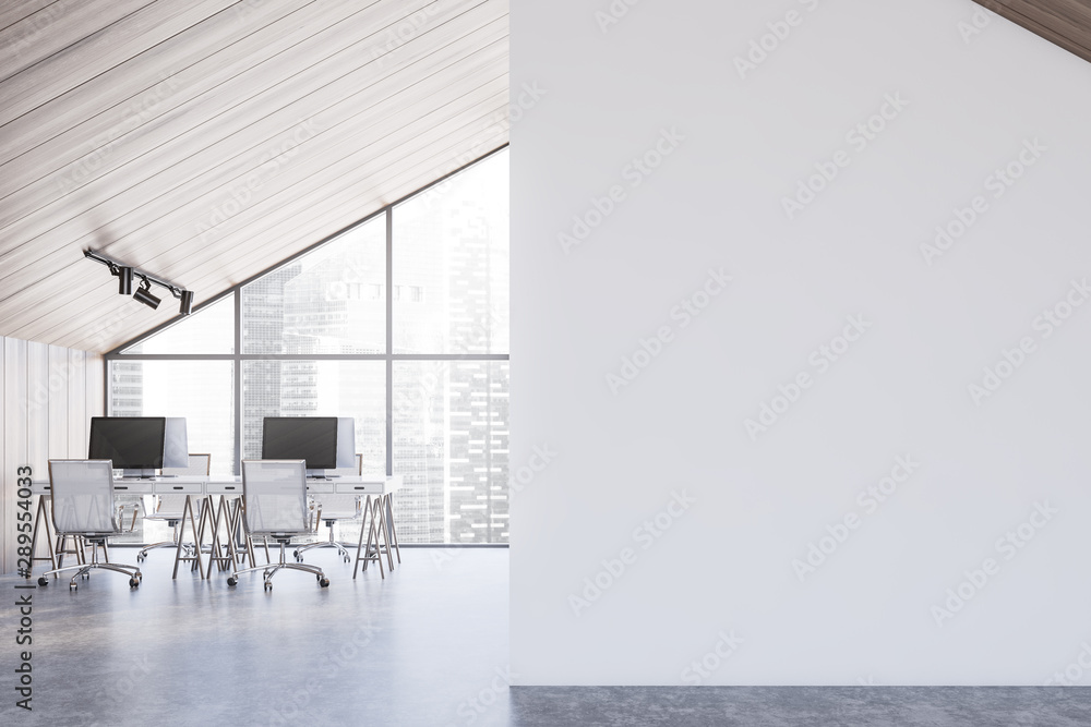 Fototapety, obrazy: Spacious wood attic office interior, mock up wall