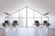 canvas print picture Spacious white attic office interior