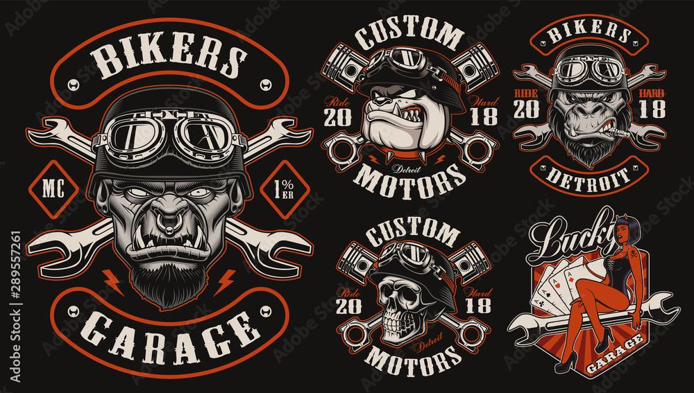Fototapeta Set of vector designs for biker theme
