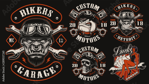 Photo Set of vector designs for biker theme
