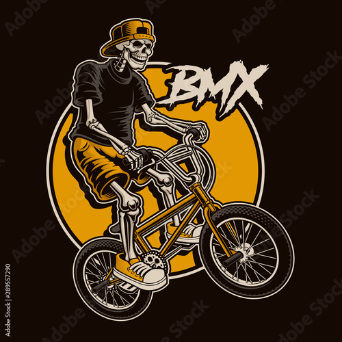Photo illustration with a skeleton is jumping on bmx bike.