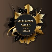 Golden Autumn, Golden Black Autumn Foliage Vector Sale Banner.