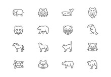 Wild Animals Thin Line Vector ...
