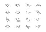 Fototapeta Dinusie - Dinosaurs thin line vector icons. Editable stroke