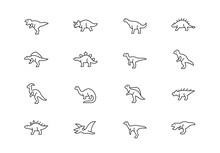 Dinosaurs Thin Line Vector Ico...