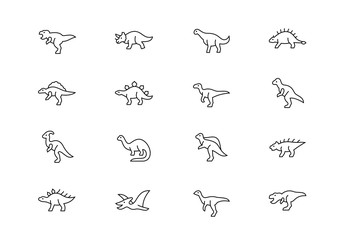 Dinosaurs thin line vector icons. Editable stroke