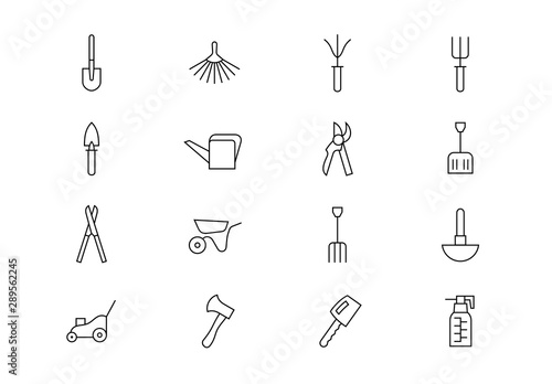 Garden tools thin line icons.  Editable stroke Wallpaper Mural