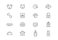 Pets Thin Line Vector Icons. E...