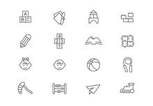 Preschool Education Thin Line Vector Icons. Editable Stroke