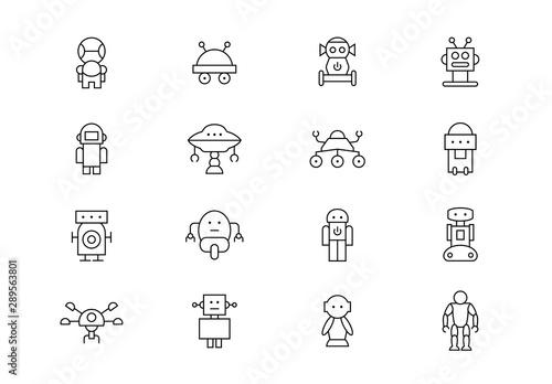 Obraz na plátne Robots thin line vector icons. Editable stroke