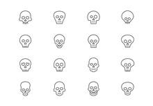 Skull Thin Line Vector Icons. ...