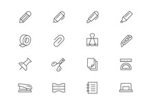 Stationery Thin Line Vector Ic...