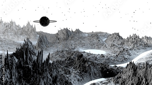 Fotografie, Obraz 3d render of abstract planet surface