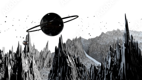 Cuadros en Lienzo  3d render of abstract planet surface