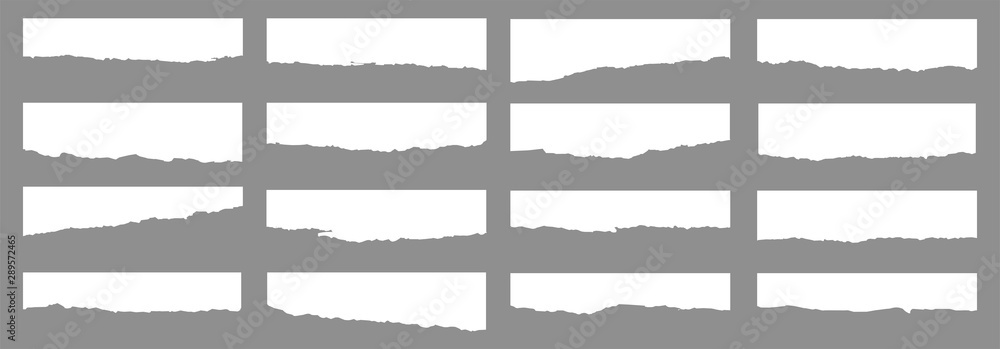 Fototapety, obrazy: Torn sheets of paper. A set of torn paper and strips of paper on a dark background. Vector illustration.