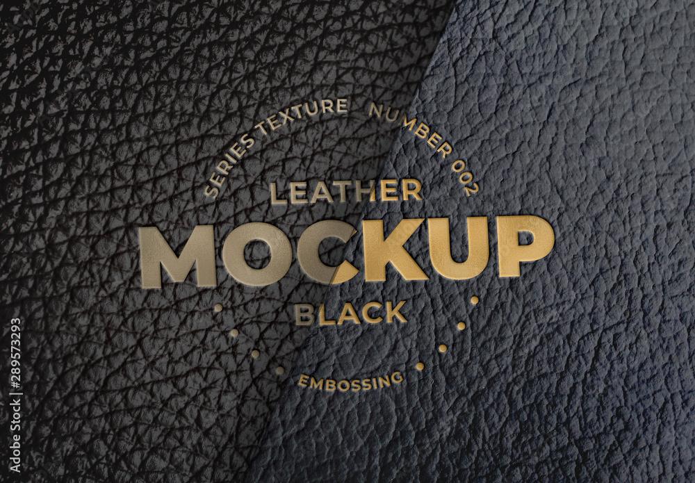 Fototapeta Embossed Black Leather Logo Mockups