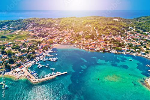 Lumbarda on Korcula island archipelago aerial view Tablou Canvas