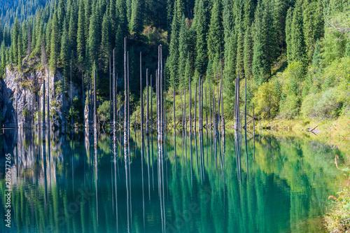 Poster Olive Kaindy lake - mountain lake in Kazakhstan