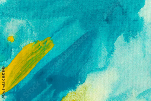 Turquoise and lemon watercolor background Canvas Print