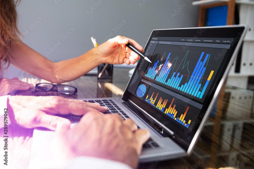Fototapety, obrazy: People Analyzing Graph On Laptop