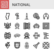 Set Of National Icons Such As Egypt, Portugal, Country, Washington Monument, World Pride Day, Kokoshnik, Eagle, Accordion, Portuguese, Concertina, Russian, Jack, Flamenco , National