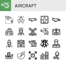 Set Of Aircraft Icons Such As Helicopter, Airport, Fly, Airplane, Small Plane, Boarding Pass, Pilot, Drone, Gimbal, Air Hostess, Military, Battleship, Sending, Military Base , Aircraft