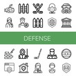 Set of defense icons such as Submarine, Lawyer, Fences, Basketball player, Hockey stick, Fence, Judge, Shield, Gas mask, Legal, Brickwall, Fencer, Military , defense