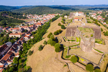 Star Shaped Bastions And Outworks Of Citadelle De Bitche, Fortress And Stronghold Near German Border In Moselle Department, France. Northern Vosges Regional Nature Park And Red Roofs Of Bitche Town