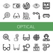 Set of optical icons such as View, Zoom in, Compact camera, Sunglasses, Radar, Camera, Eye, Binoculars, Laser, Search, Glasses, Magnifying glass, Explorer , optical