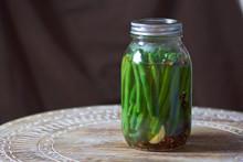 Vinegar Fermented Dill Pickled String Beans In Mason Jar