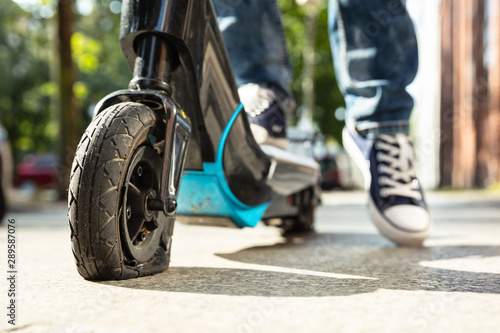Photo  Flat Tire On E-Scooter