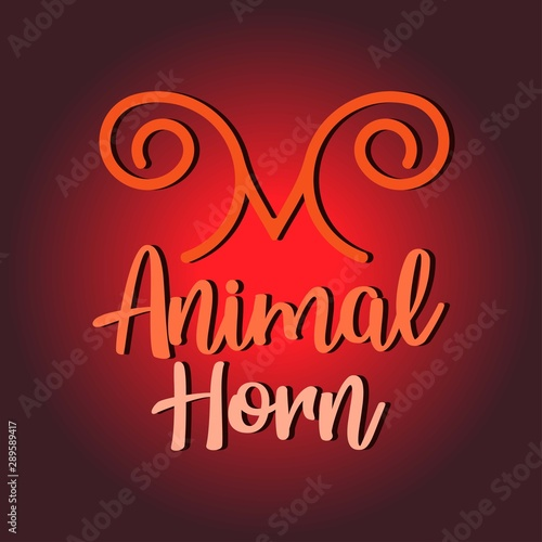 Photo  Letter M with Animal Horn Logo Design Vector