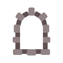 Castle Window Isolated Cartoon. Stone Placing Vector Illustration