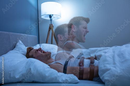 Obraz Man Suffering From Sleep Paralysis - fototapety do salonu
