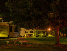 Evening At A Rv Park With Ligh...