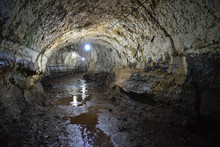 Illuminated Lava Tunnel Cave W...